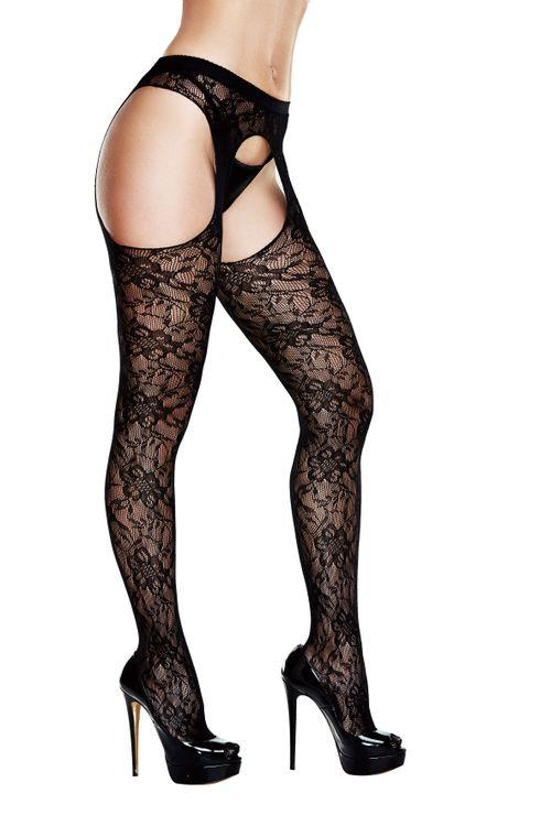 Baci - Kanten Panty Met Jarretel Look - Zwart