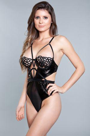 Tiara Body Met Open Cups  - Zwart