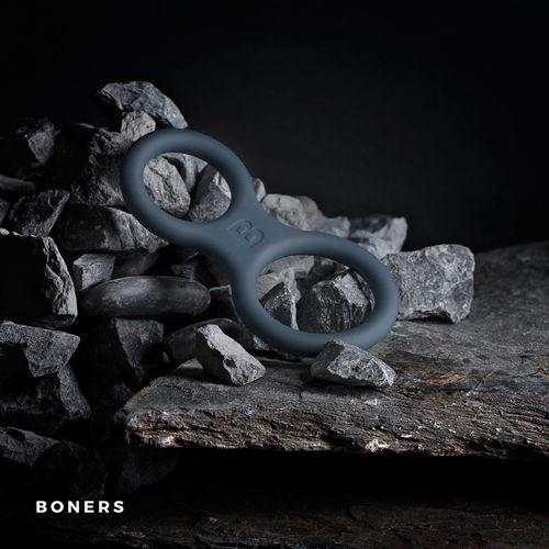 Boners Silikon Penisring und Hodenstrecker - grau