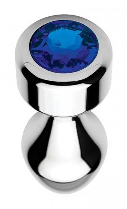 Aluminium Butt Plug mit blauem Kristall - Groß