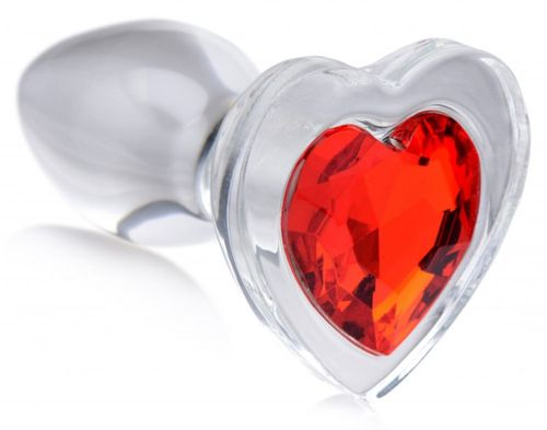 Red Heart Glas-Analplug mit Schmuckstein - Klein
