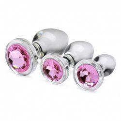 Pink Gem Anaalplug Set Van Glas