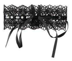 Zwarte geborduurde halsband met steentjes