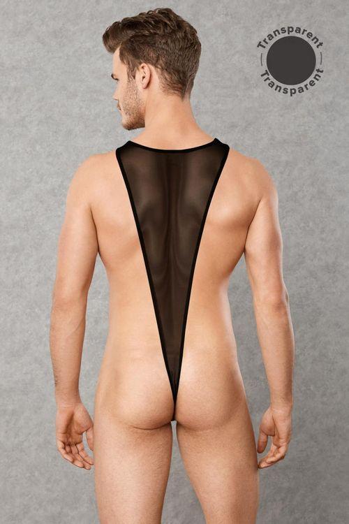 Transparenter Männer-Body - Schwarz