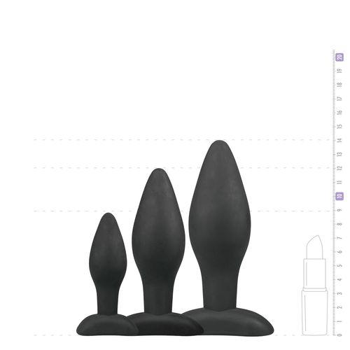 Schwarzes Analplug-Set aus Silikon