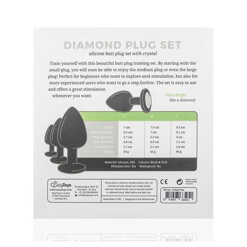 Analplug aus Silikon mit Diamant - Schwarz