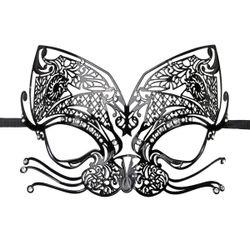 Easytoys Opengewerkt Venetiaans Masker - Zwart