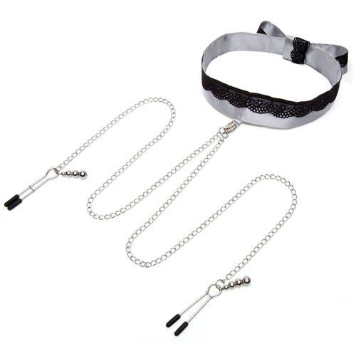 Fifty Shades Of Grey - Satin-Halsband mit Brustwarzenklemmen