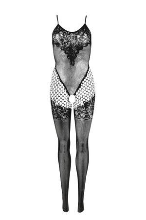 Netstof catsuit met patroon