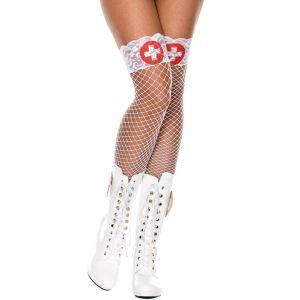 White Cross Print Lace Top Spandex Mini Diamond Net Thigh Hi