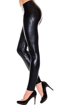 Leggings im Wetlook SCHWARZ