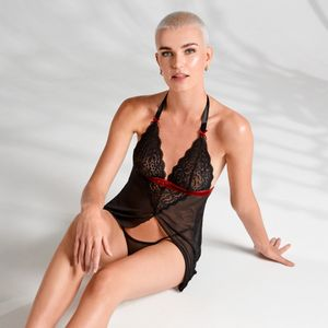 Rossita Babydoll Met Sexy String - Zwart