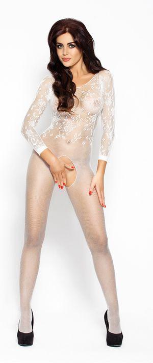Witte netstof catsuit met open kruis