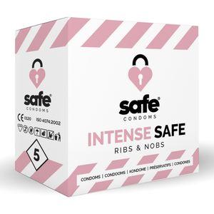 SAFE - Condooms - Ribbels & Noppen - 5 stuks