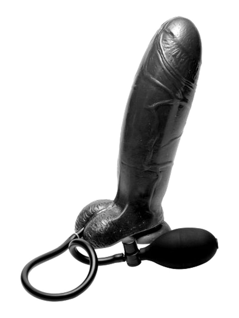 Inflatable Suction Cup Dildo - Zwart